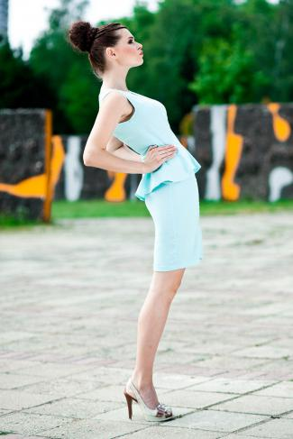 3507-2 a vest dress with no sleeves - mint sorbet