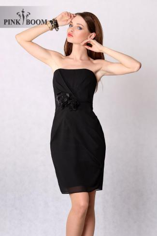 4228-2 Cocktail dress with ornate rose - black